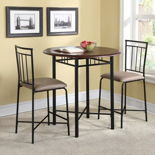 30 Round High Top Restaurant Cafe Bar Table And Cherry: Monterey 3-Piece Round Top Wood And Metal Dining Pub Set