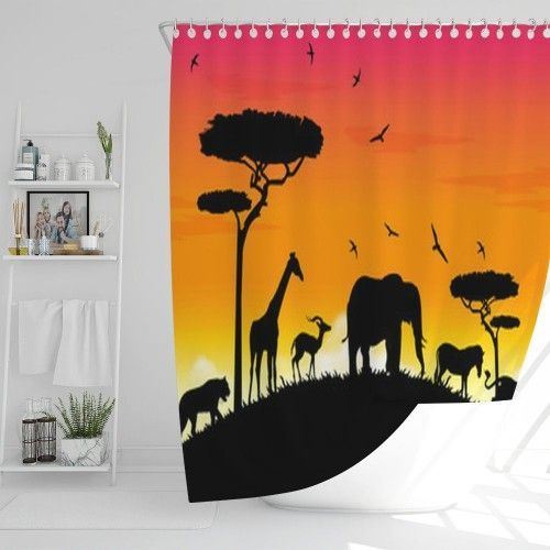 Safari Acacia Animal Shower Curtain 21165212 | VisionBedding