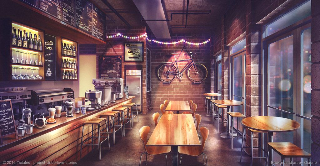 Hipster coffee Visual Novel Background by giaonp