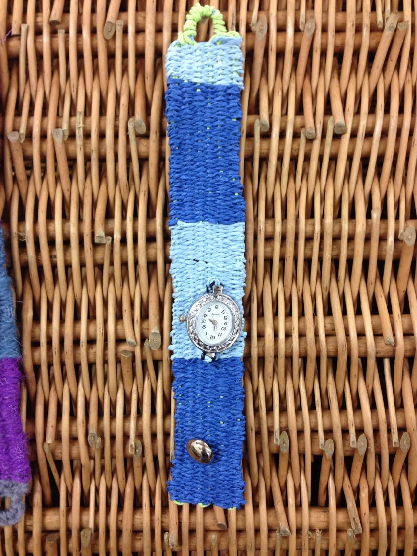 Another watch strap - on raffia! Very comfortable to wear. Not easy to weave.