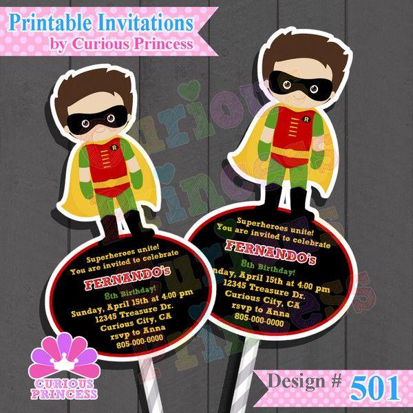 Batman Robin invitations for Birthday party ideas printable by