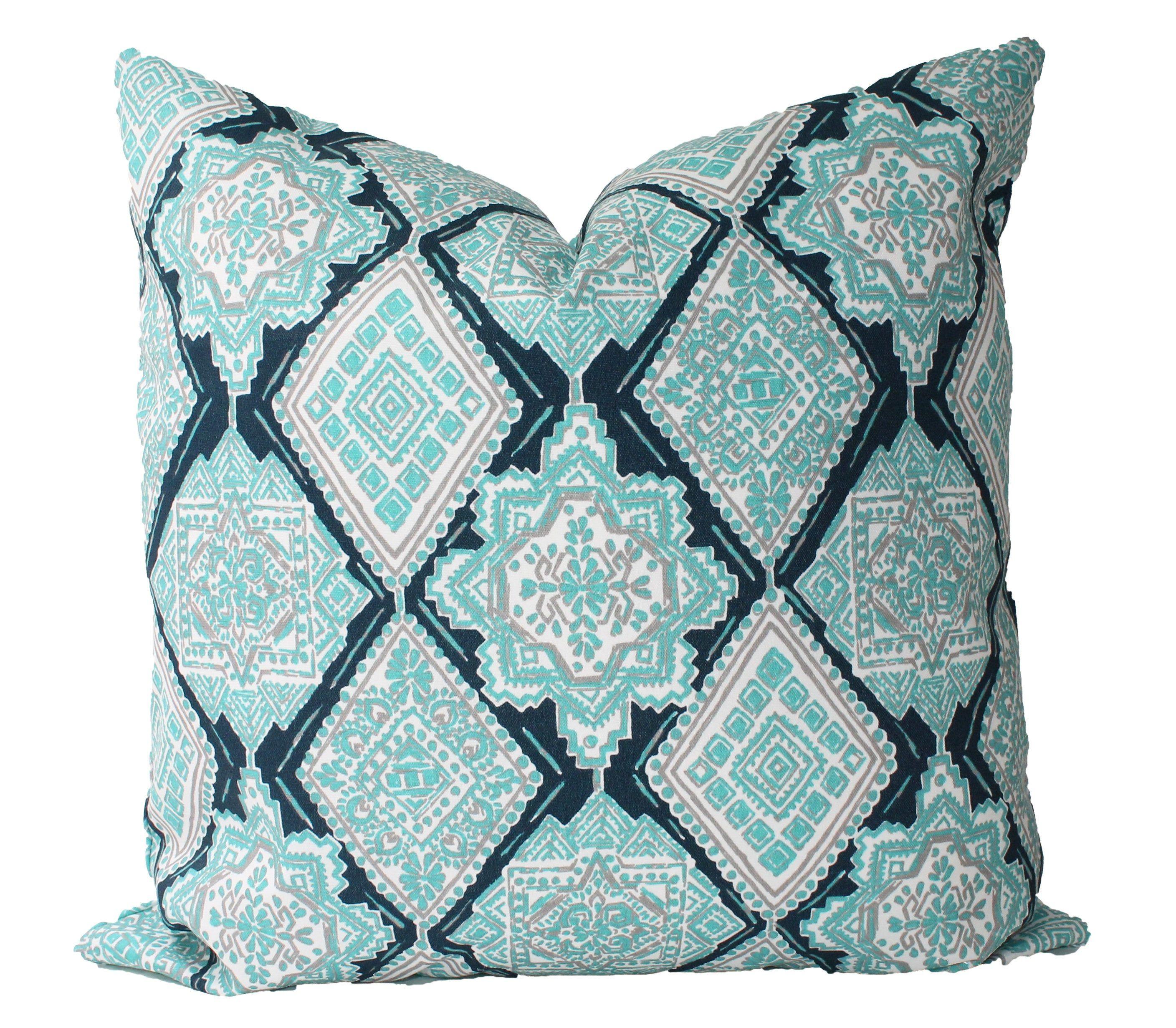 Outdoor Decorative Designer Geometric Paisley Diamond Turquoise Accent Pillows 18x18 20x20 22x22 Or Lumbar Throw Pillow Turquoise Accent Pillows Lumbar Throw Pillow Throw Pillows