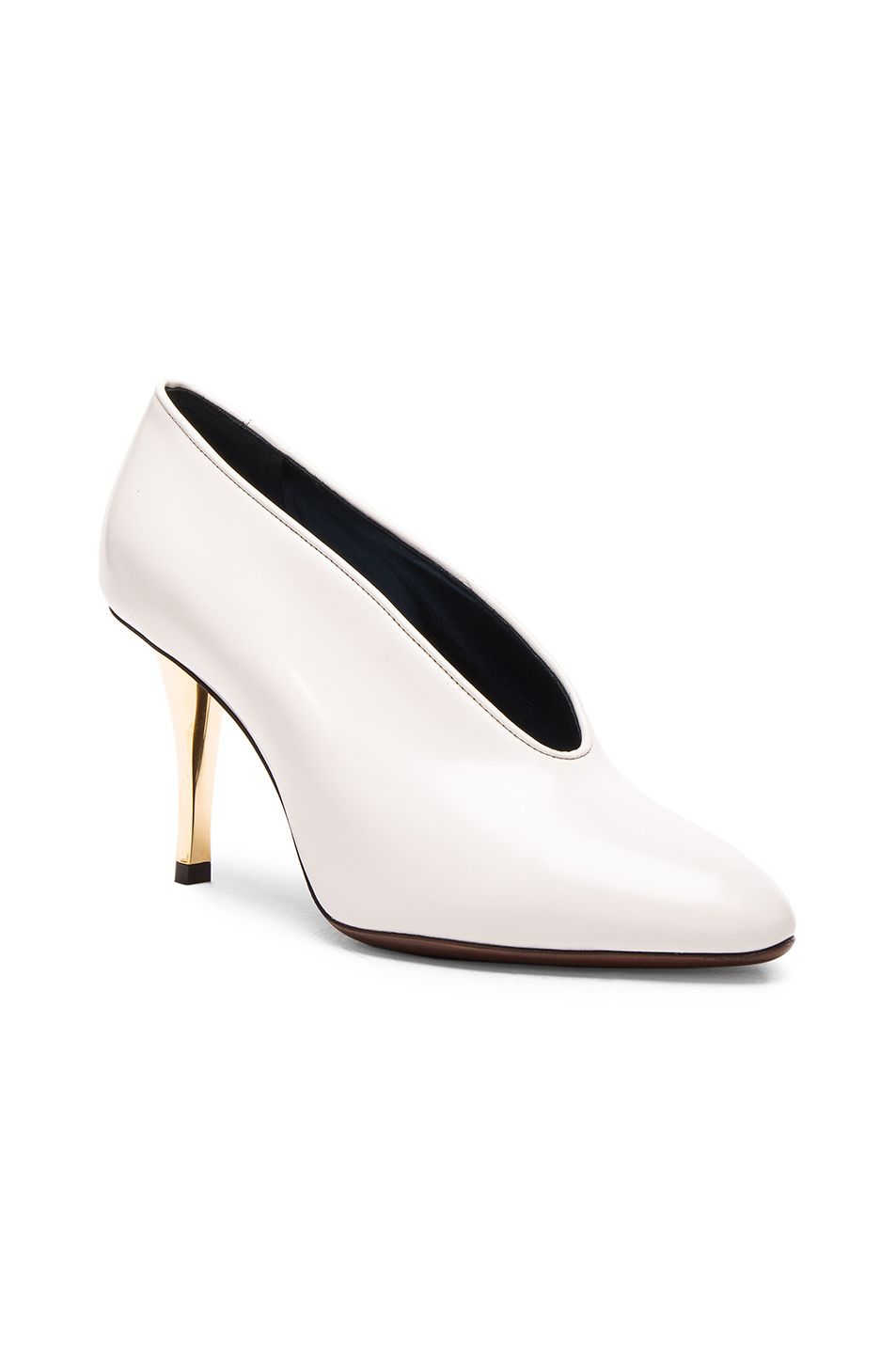 87903241d Lanvin Leather V Neck Pumps in Ivory | FWRD | fw 17 | Designer high ...