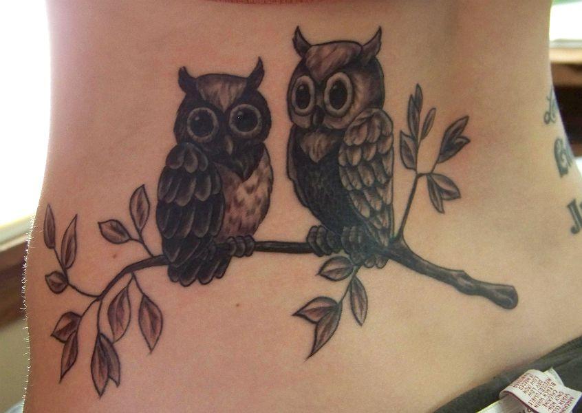 Two Owls On A Branch Cute Owl Tattoo Owl Tattoo Family Tree Tattoo