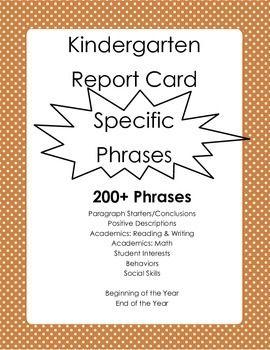 Kindergarten Report Card Comments Specific Phrases 200 Report