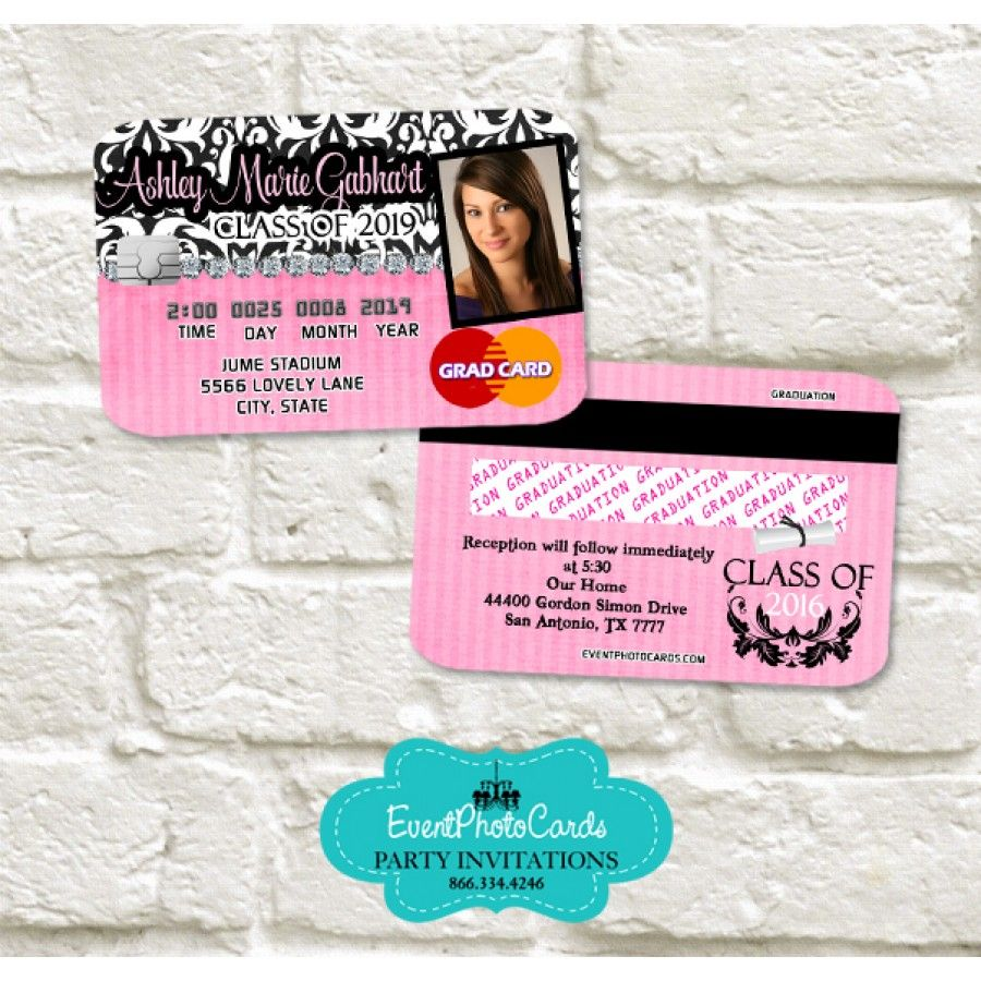 Pink Damask Girl Graduation Invitation Card - Credit Card ...