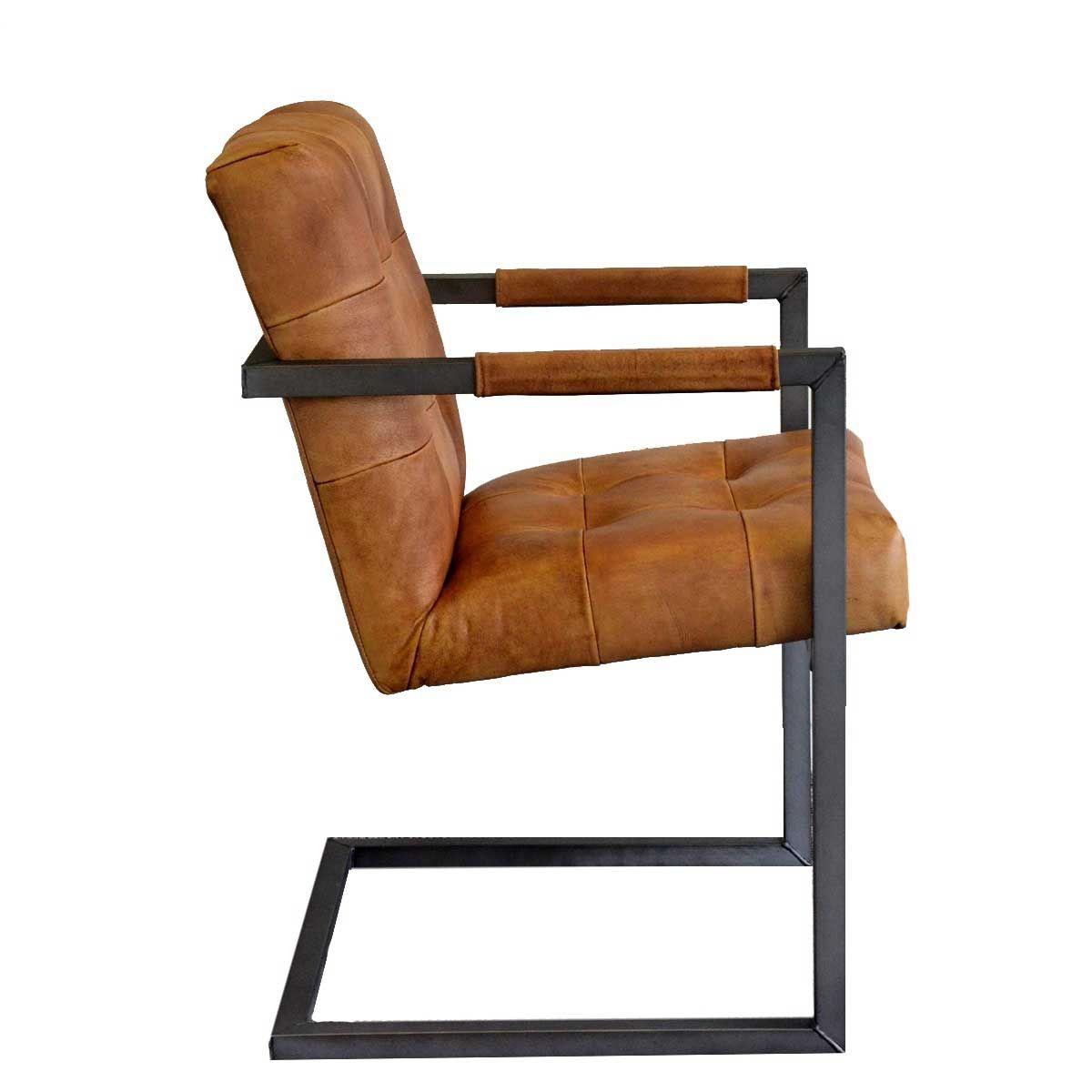 Esszimmer Stuhl Basie cognac Konferenzstuhl echt Leder