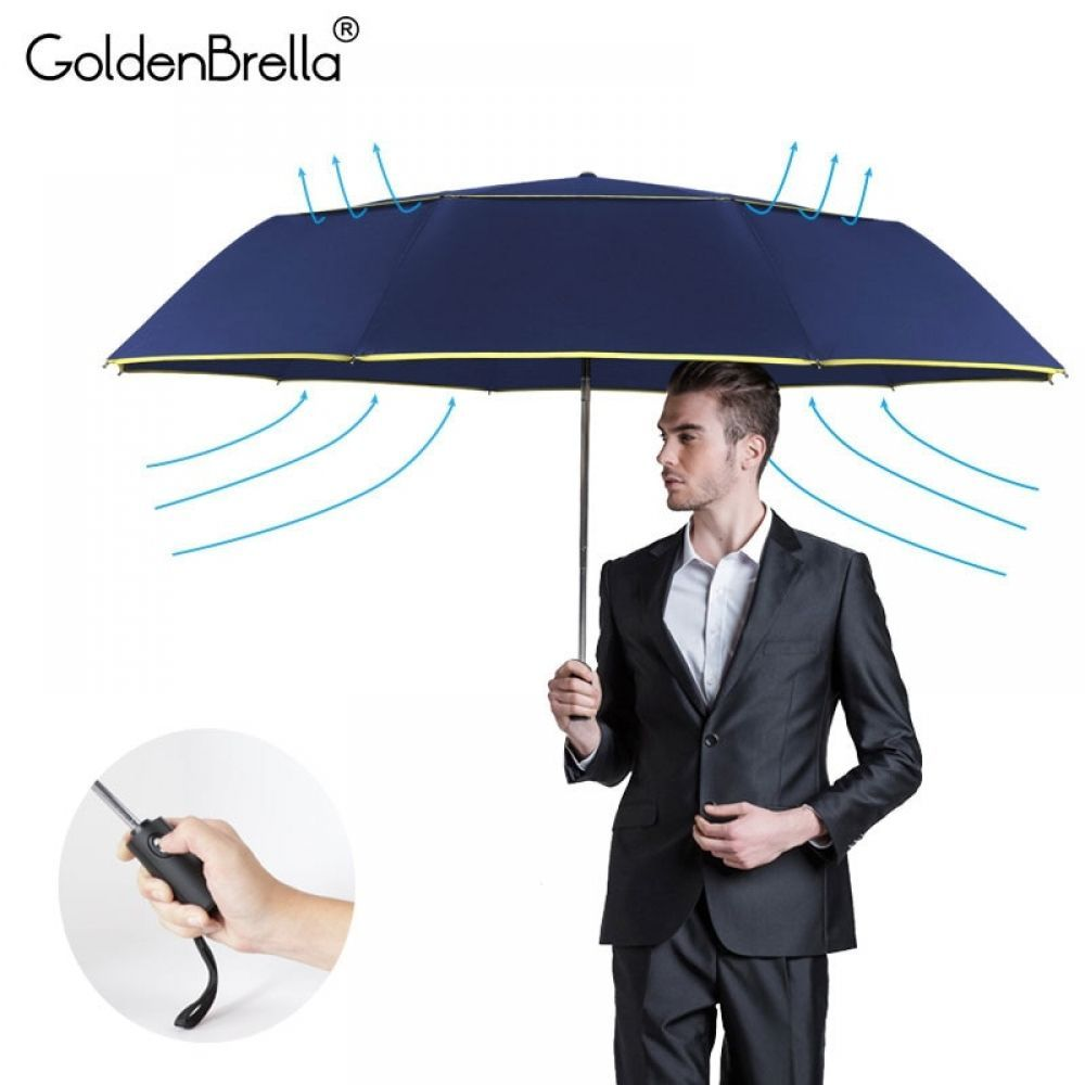TOPX 130cm Big Umbrella Rain Double Layer Windproof Large Capacity