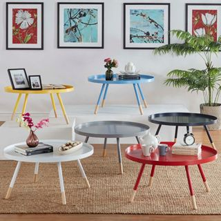 Marcella Paint Dipped Round Spindle Tray Top Coffee Table INSPIRE Q Modern  | Overstock.com Shopping   The Best Deals On Coffee, Sofa U0026 End Tables