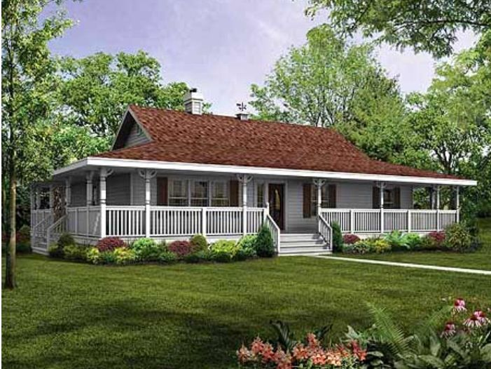 Rap all the way around porch single story farm house my for Single roof line house plans