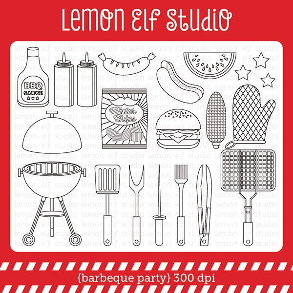 barbeque party digital stamp set comes with grill lit barbeque tools grill mit