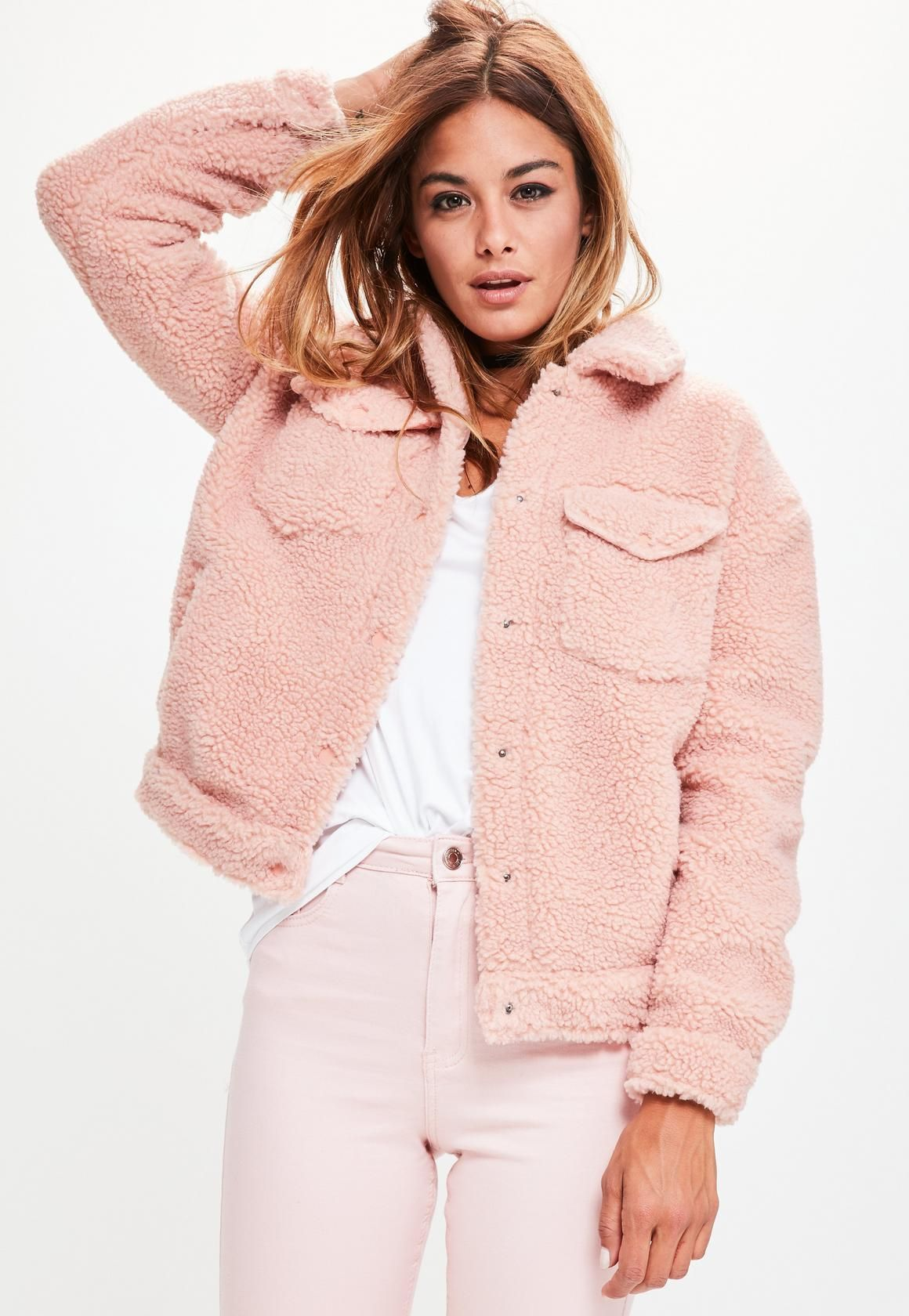 Missguided Pink Faux Shearling Trucker Jacket - $68 | Hip Teen ...