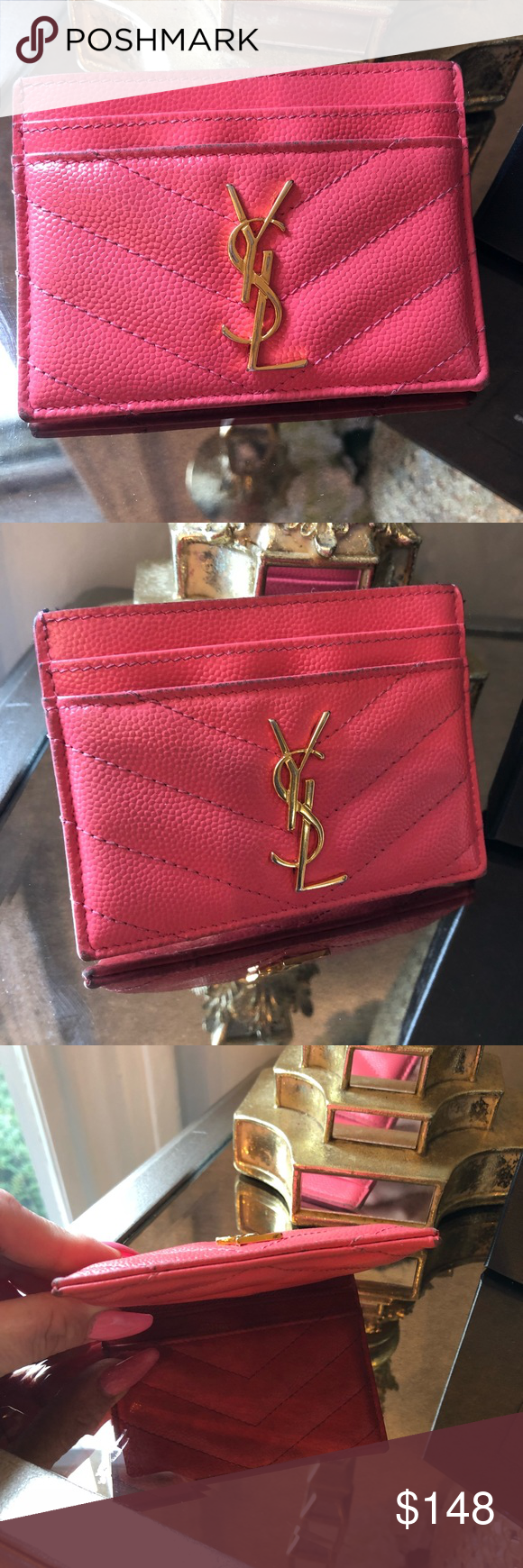 33463d4cc8a Saint Laurent Matelassé Credit Card Holder Saint Laurent Women's Matelassé  Leather Credit Card Holder - Fuchsia is the color . Comes with box and dust  bag ...
