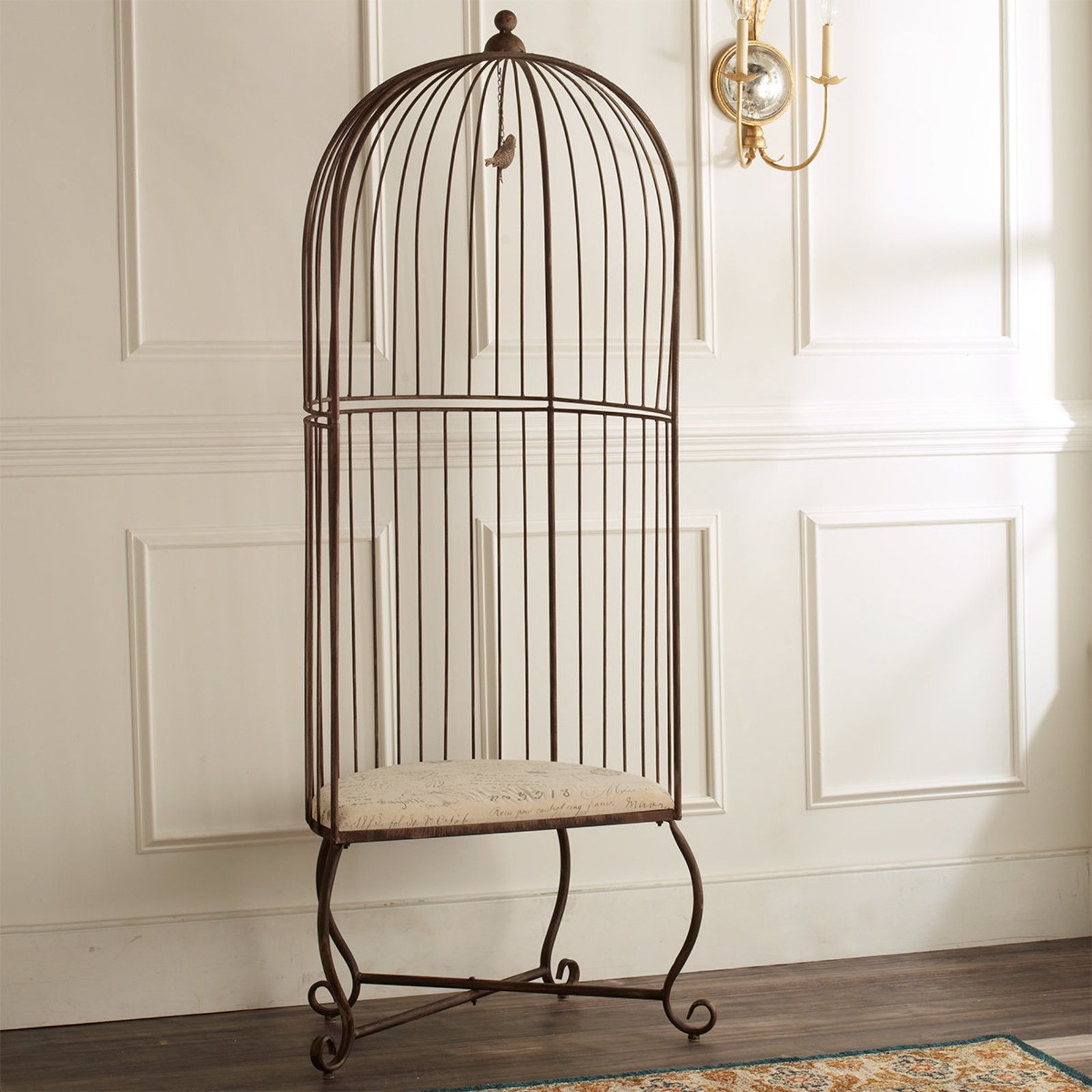 Accent Chair With Cage Bottom: Birdcage Accent Chair Iron
