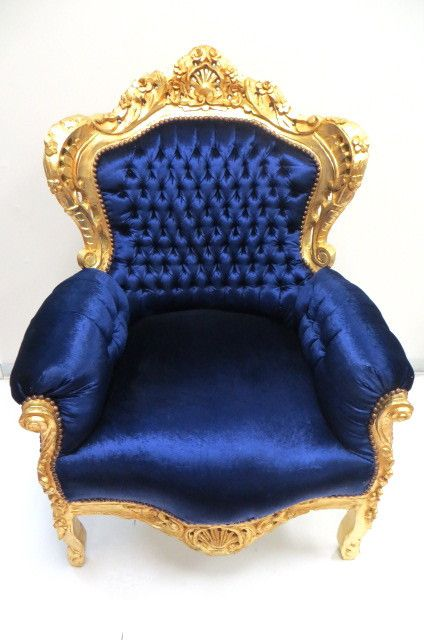 Baroque Throne Gold And Royal Blue 899 Throne Chair