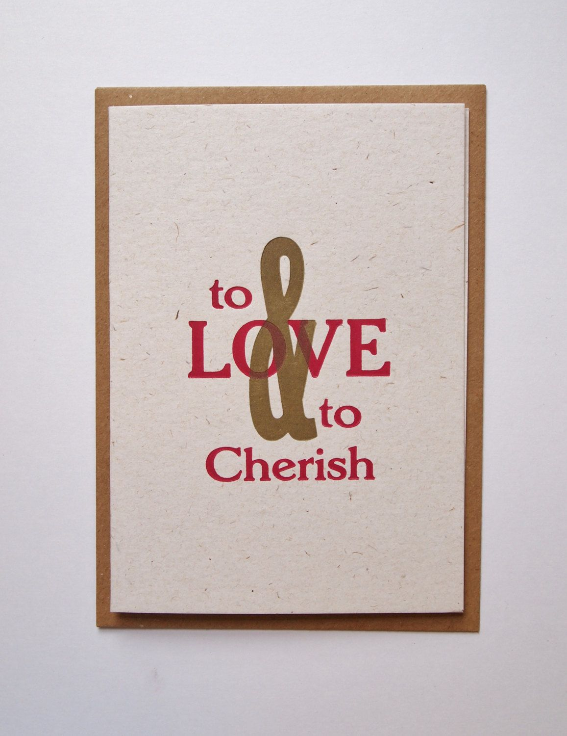 To Love and To Cherish letterpress wedding card by TheSmallprintCompany on Etsy