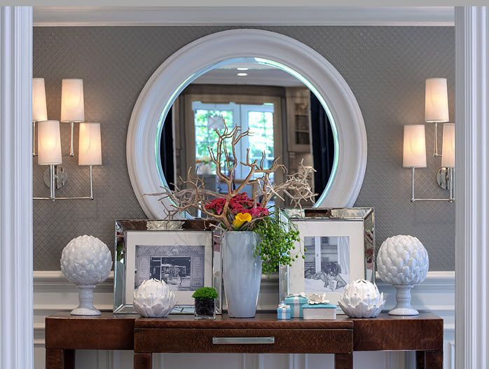 Decorating Foyer With Mirrors : Round mirror with wide white frame. marcus design {house tour