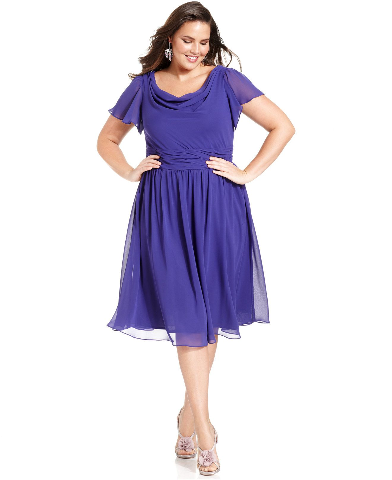 SL Fashions Plus Size Short-Sleeve Cowl-Neck Dress - Dresses - Women ...