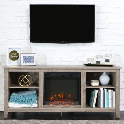 Union Rustic Kris Tv Stand With Electric Fireplace Finish Driftwood