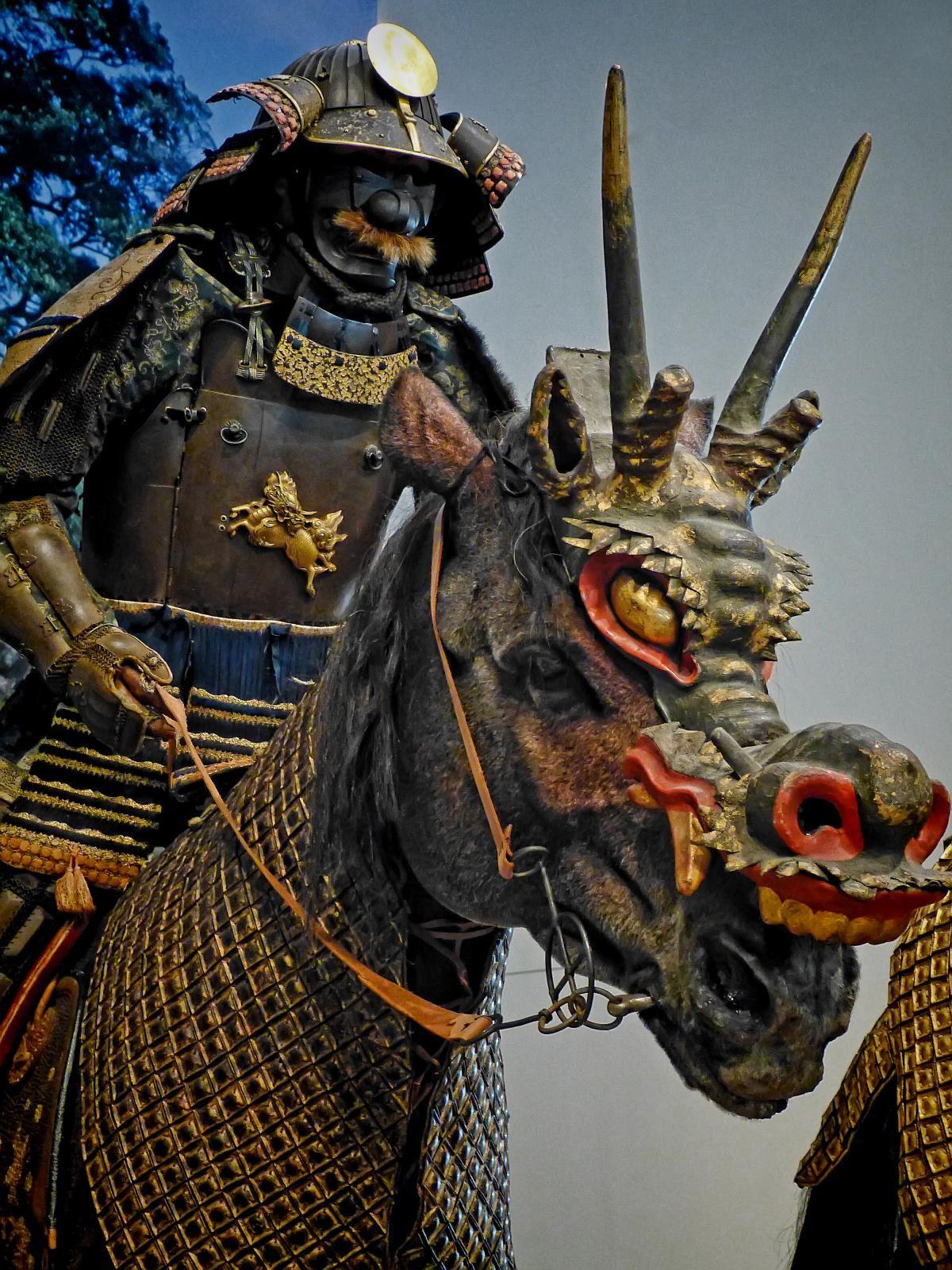 Mounted Samurai wearing Tatehagidō Armor with horse ...