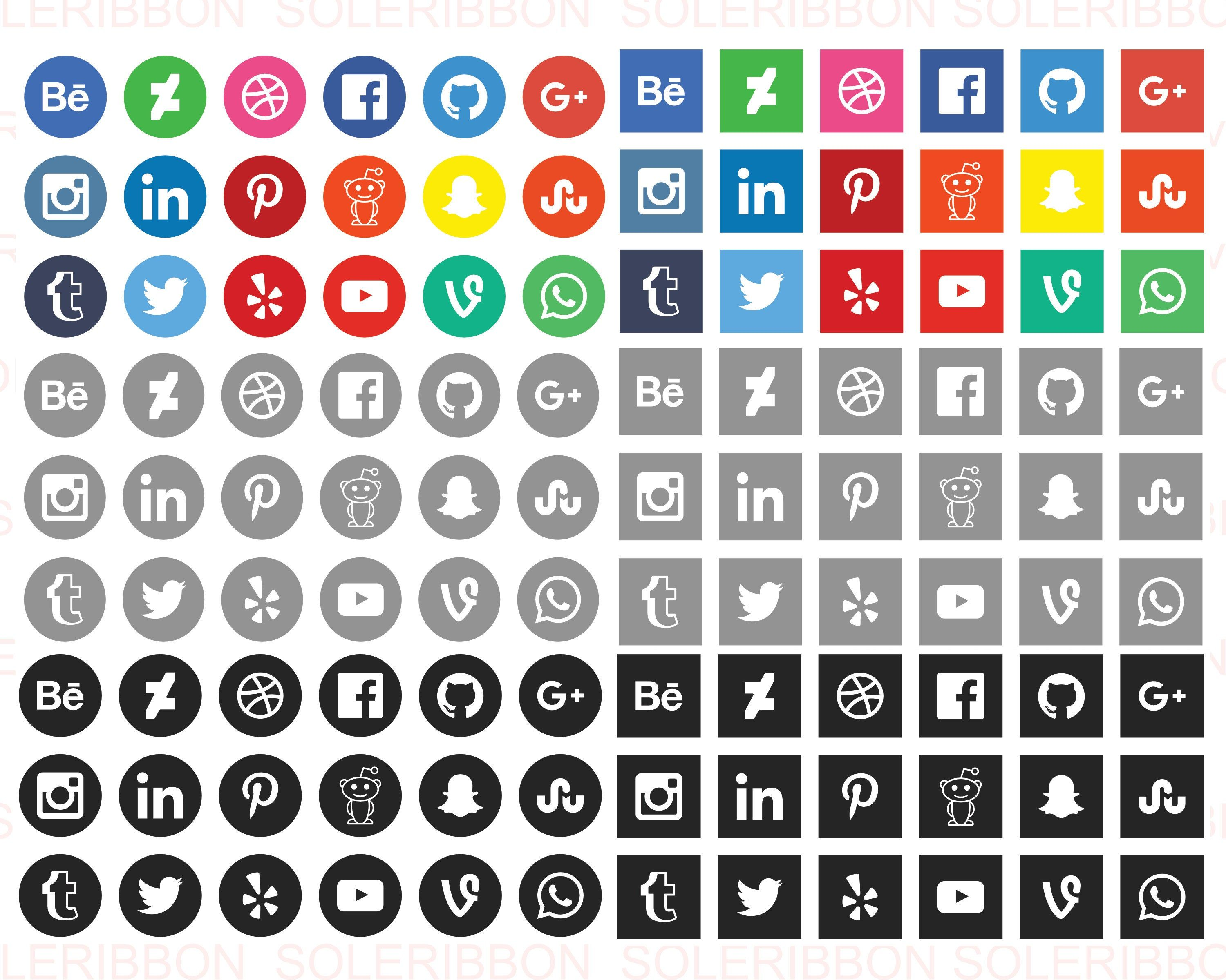 Social Media Icons Facebook, Instagram, Twitter
