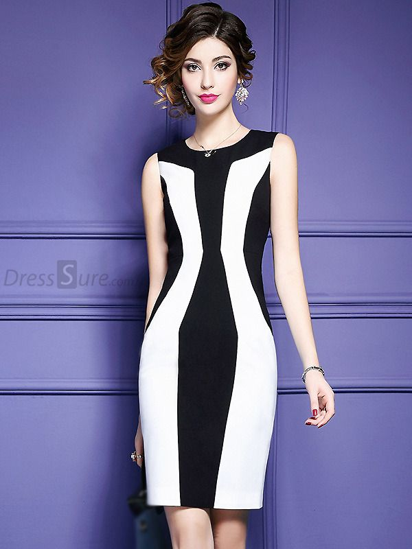 Buy Fashion O-Neck Hit Color Bodycon Work Dress with High Quality ...