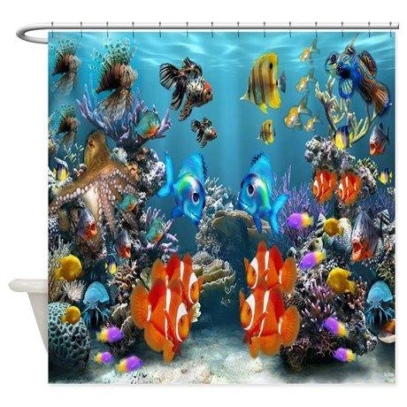 Aquarium Shower Curtain By Celestialtees Cafepress Aquarium Live Wallpaper Fish Wallpaper Tropical Wallpaper