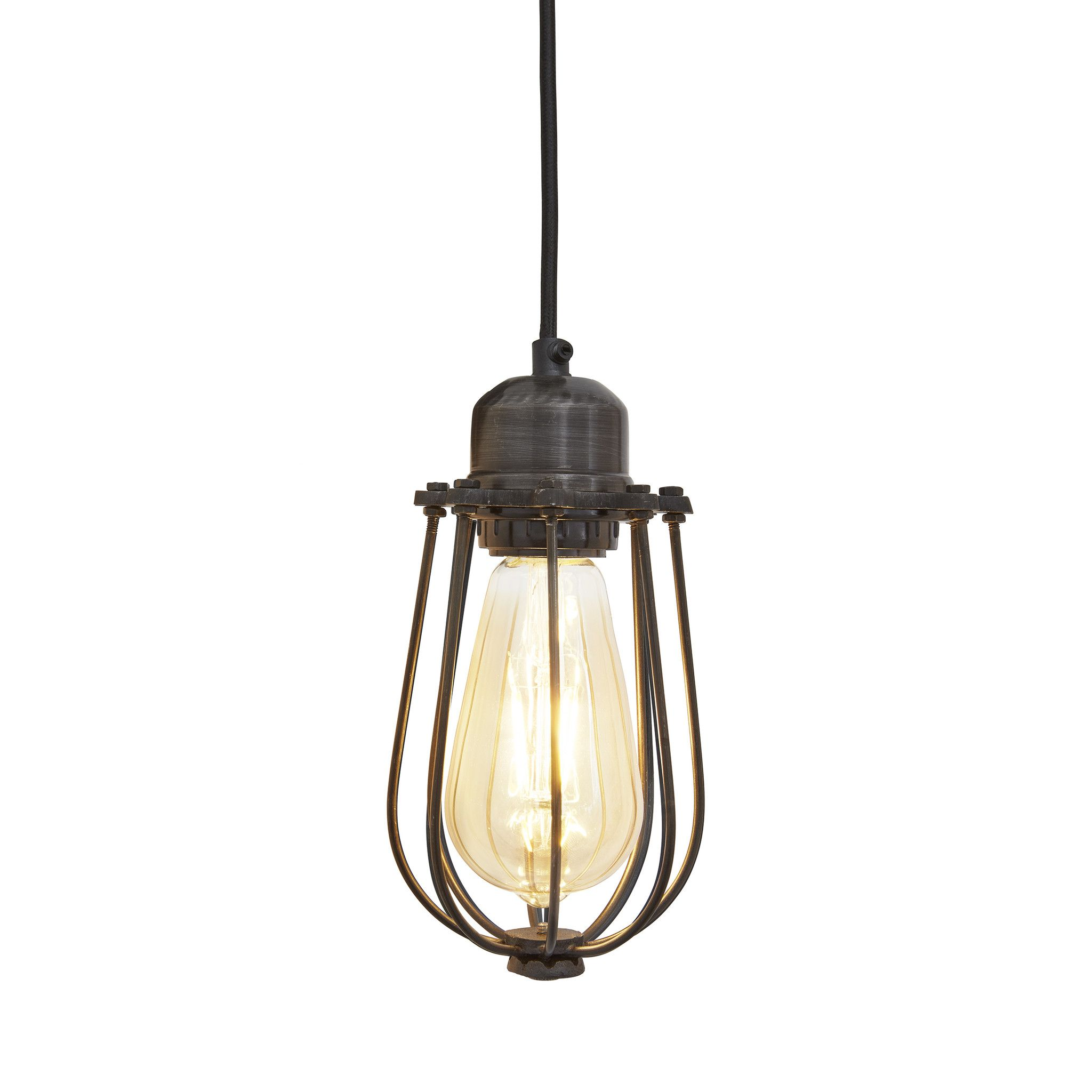 orlando vintage cage pendant light dark pewter lightbulb rh pinterest com