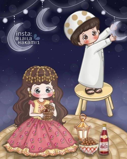 Ramadan Ramadan Kareem And رمضان كريم Image Kartun Ilustrasi Gambar