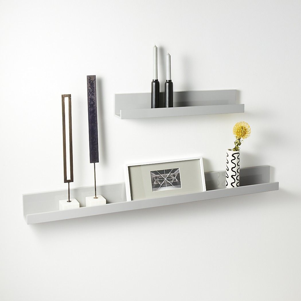 6b34aa9af6 Shop Piano Grey Wall Shelves. Chic grey lacquered ledge with upturned edges  and slim silhouette suspends photos, artwork and objects of interest.