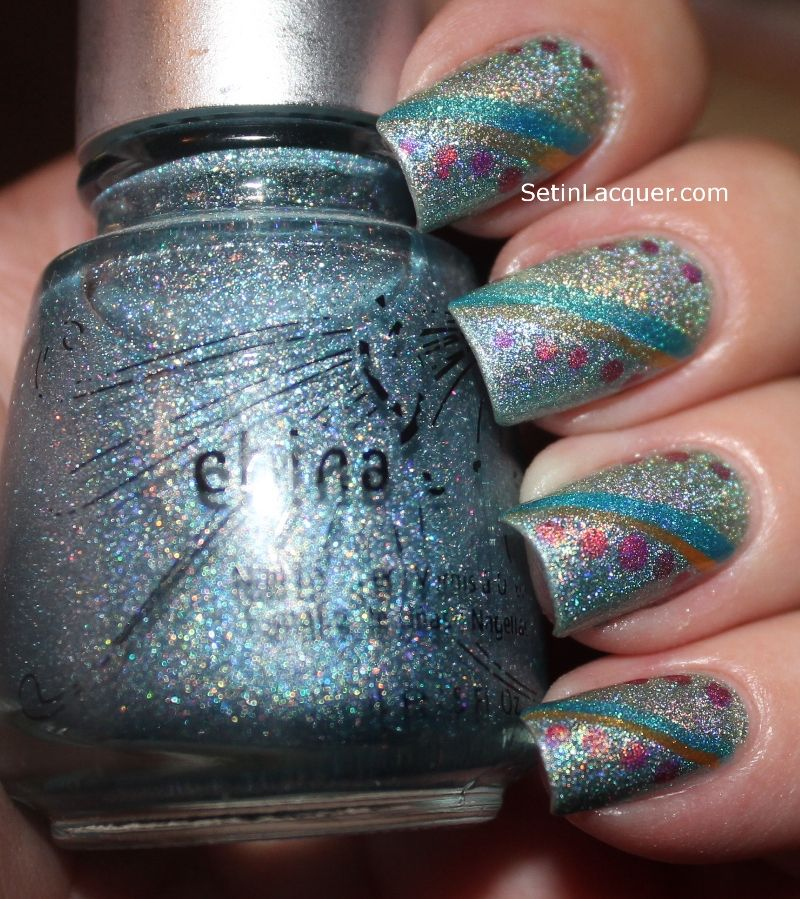Holographic China Glaze Kaleidoscope Him Out and He's Going in Circles.