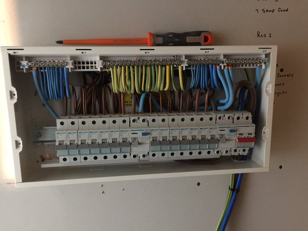 Hager Design 30 Consumer Unit, 6 Way board with RCD as main switch ...