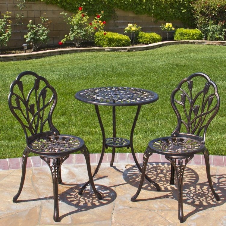 Details About 3 Piece Patio Furniture Set Outdoor Garden Balcony Rust Free Tulip Design Chairs With Images Garden Furniture Sets Outdoor Patio Furniture Sets Outdoor Bistro Set