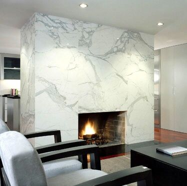 Floor To Ceiling Marble Slab Fireplace New Home Living