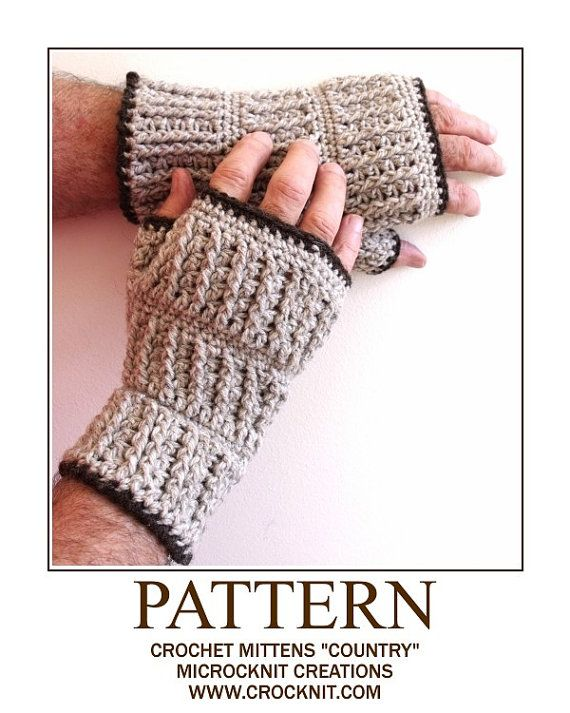 Fingerless Mittens COUNTRY Crochet PATTERN for men man by crocknit ...