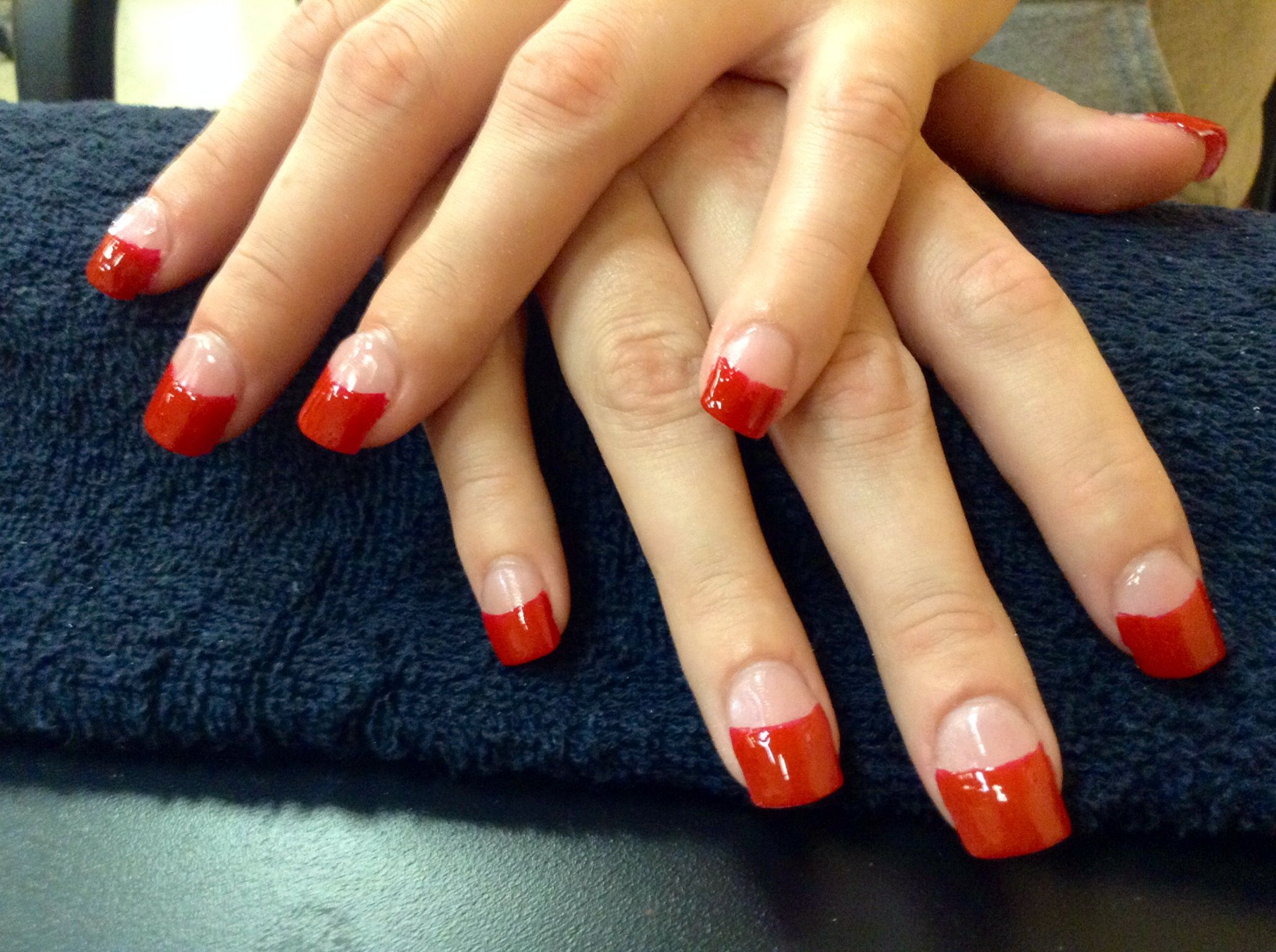 Heavy red French tip acrylics done at empire beauty school | Nail ...