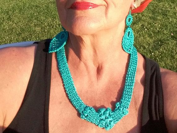 Crochet Necklace and Earrings or Clips  Teal Aqua Color by knittee