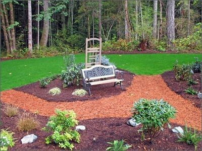 Cool Dual Color Mulch Garden With Images Front Yard