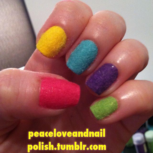Crazy Fuzzy Nails Using Flocking Powder My Nail Art Pinterest