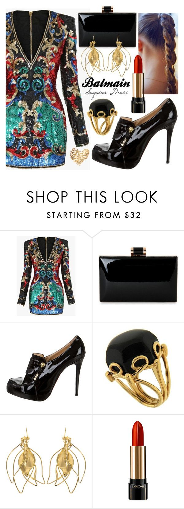 """Balmain Sequins embellished mini dress"" by elnet ❤ liked on Polyvore featuring Balmain, Christian Louboutin, Valentin Magro, Aurélie Bidermann, Lancôme and balmain"