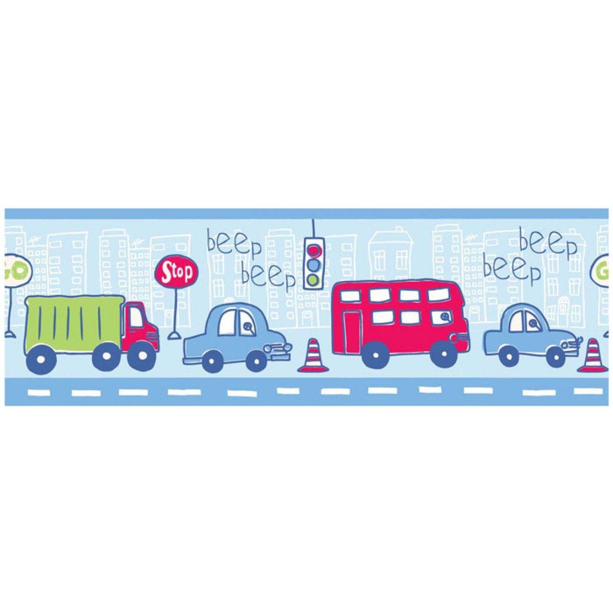 Thomas the tank engine wallpaper border - Beep Beep Cars And Vehicles 7 Inch Wallpaper Border 5m