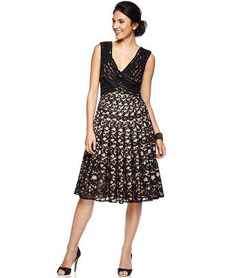 Adrianna Papell Petite Dress Sleeveless Pleated Lace A Line