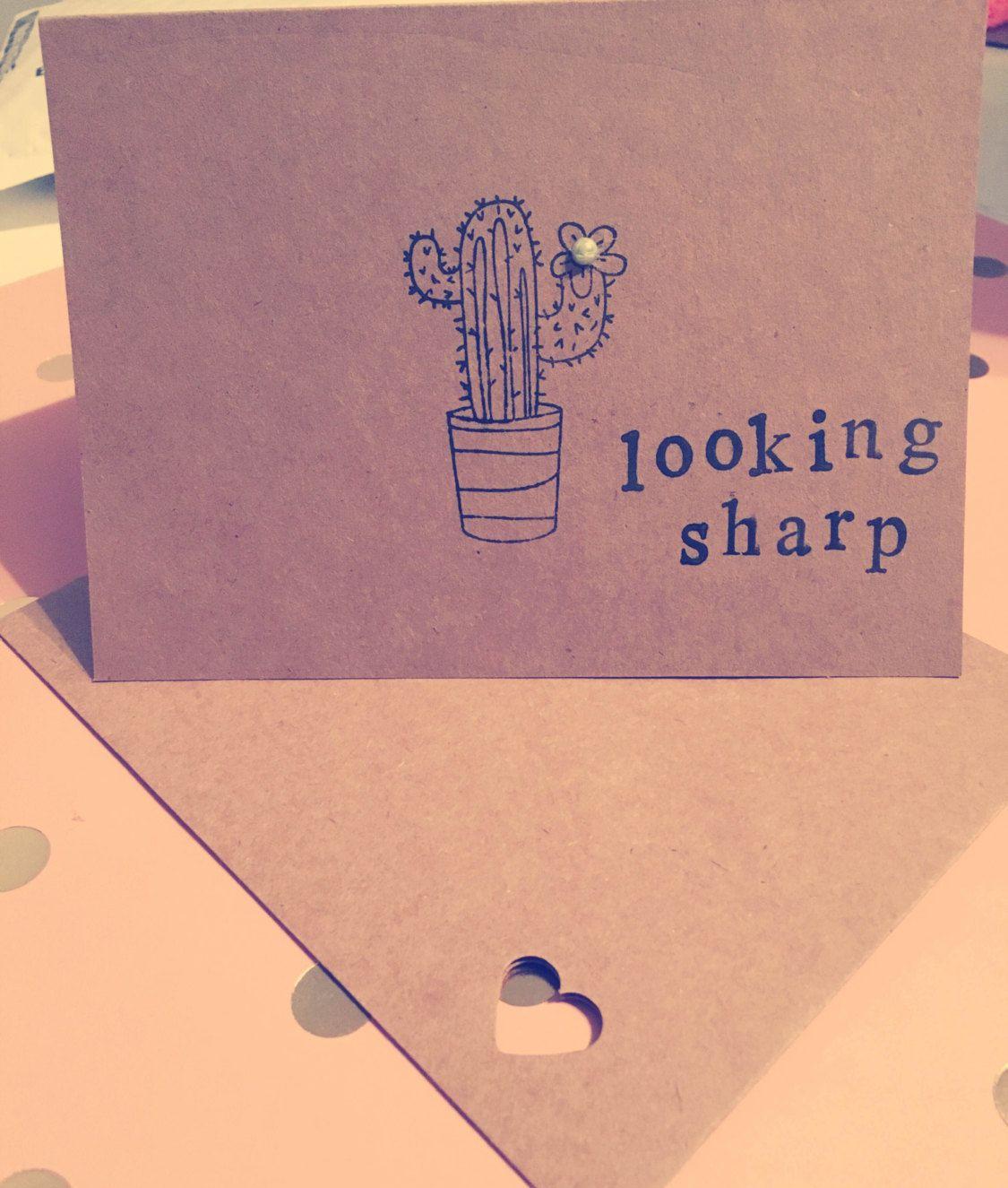Handmade funny cactus cardgreeting cards geekpun cardslove