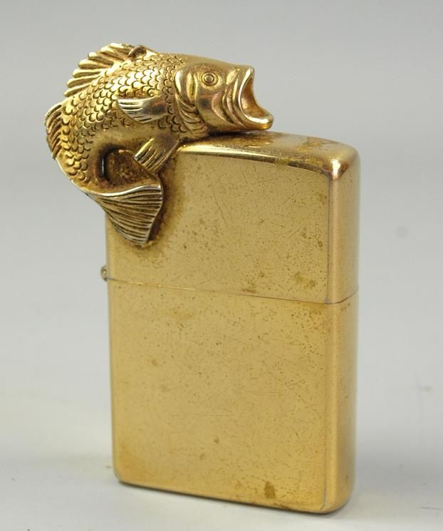 Antique Zippo Lighter Gold Koi Carp Fish Bass Rare Zippo Lighter Zippo Koi Carp Fish