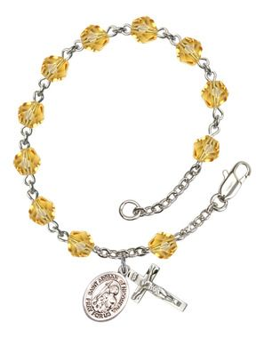 St. Adrian of Nicomedia Silver-Plated Rosary Bracelet with 6mm Topaz Fire Polished beads