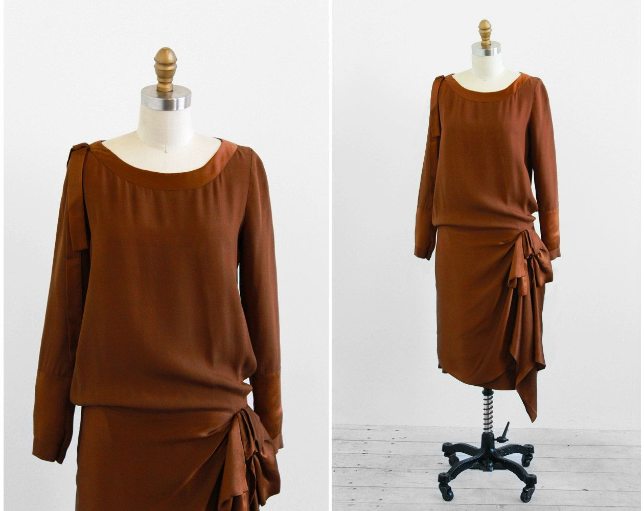 R E S E R V E D Vintage 1920s Dress 20s Dress Brown Silk Gatsby Flapper Dress With Darling Bow 1920s Dress 20s Dresses Vintage Dresses [ 1000 x 1260 Pixel ]