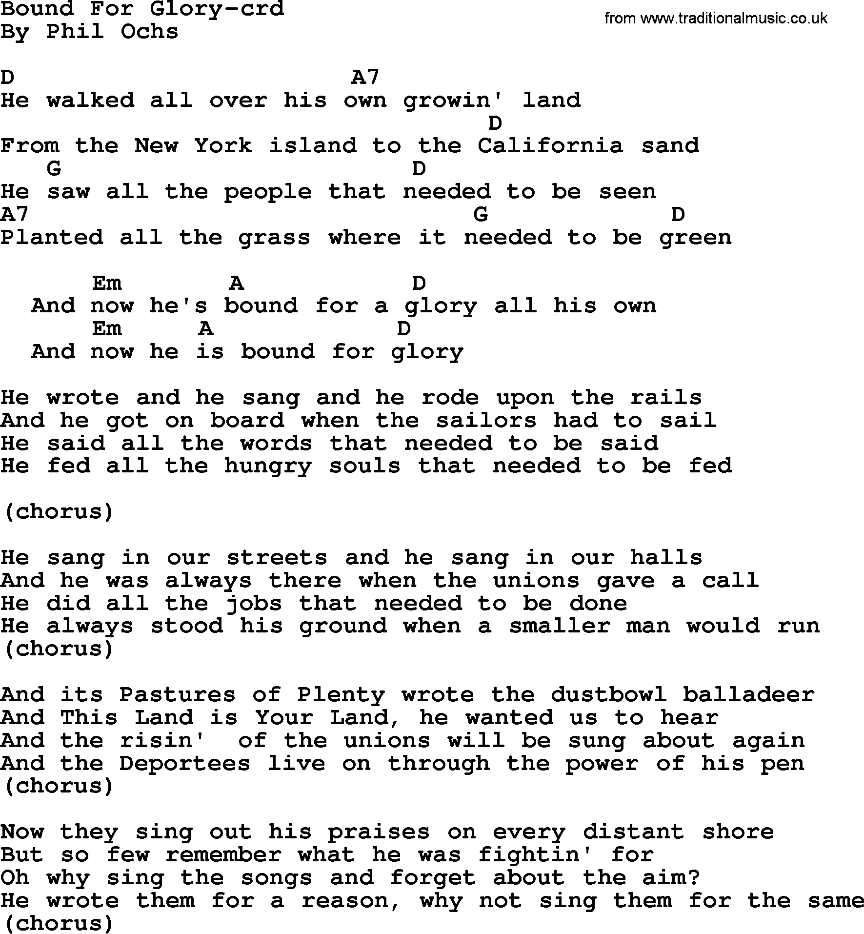 Phil ochs song bound for glory by phil ochs lyrics and chords phil ochs song bound for glory by phil ochs lyrics and chords hexwebz Images