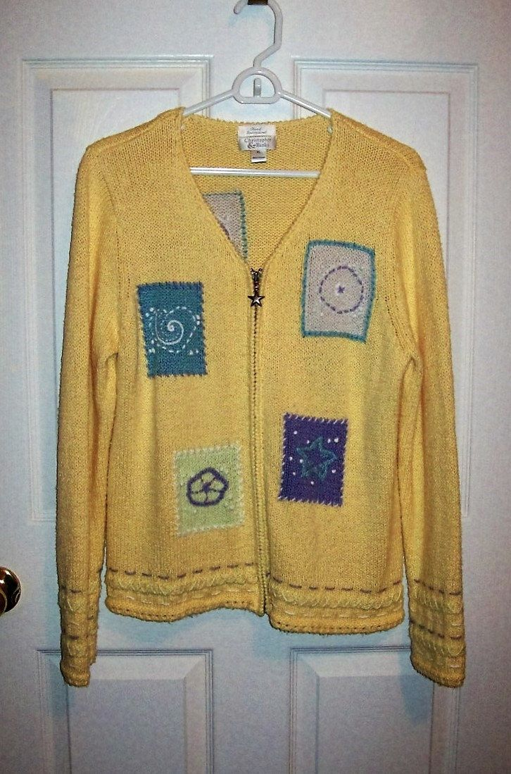 Vintage Ladies Yellow Hand Embroidered Cardigan Sweater by ...