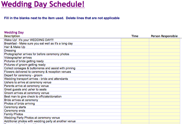 Wedding Day Schedule Template | Wedding Plans | Wedding day
