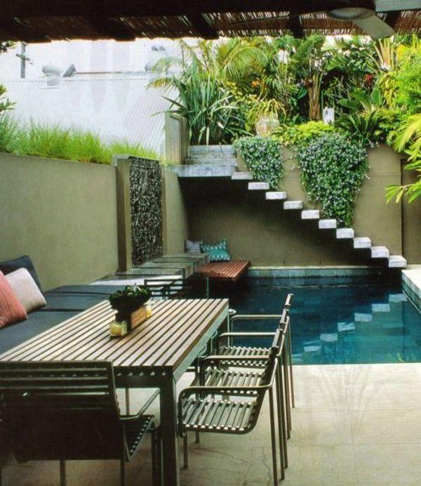 moderne gartengestaltung ideen pool pflanzen gartenmöbel holz - moderne gartengestaltung mit pool